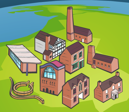 West Midlands Museums - Etruria Industrial Museum, Bantock House, Jewellery Quarter, Jackfield Tile Museum, St Marys Guildhall, Ford Green Hall, Lunt Fort and Priory Visitor Centre.