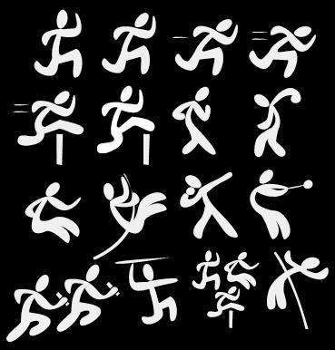 (from top left) 1500 metres, 400 metres, 200 metres, 100 metres, 110 hurdles, steeple chase, walk race, discus, long jump, pole vault, shot put, hammer throw, relay, javlin, decathlon, high jump