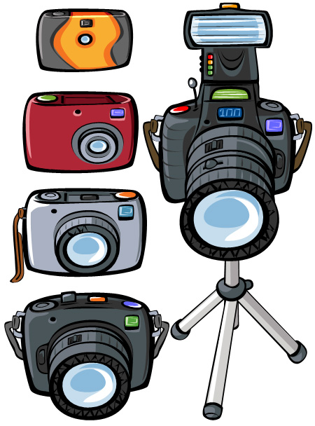 1-5 Star Camera Illustrations - Disposable to Top of the range Camera.